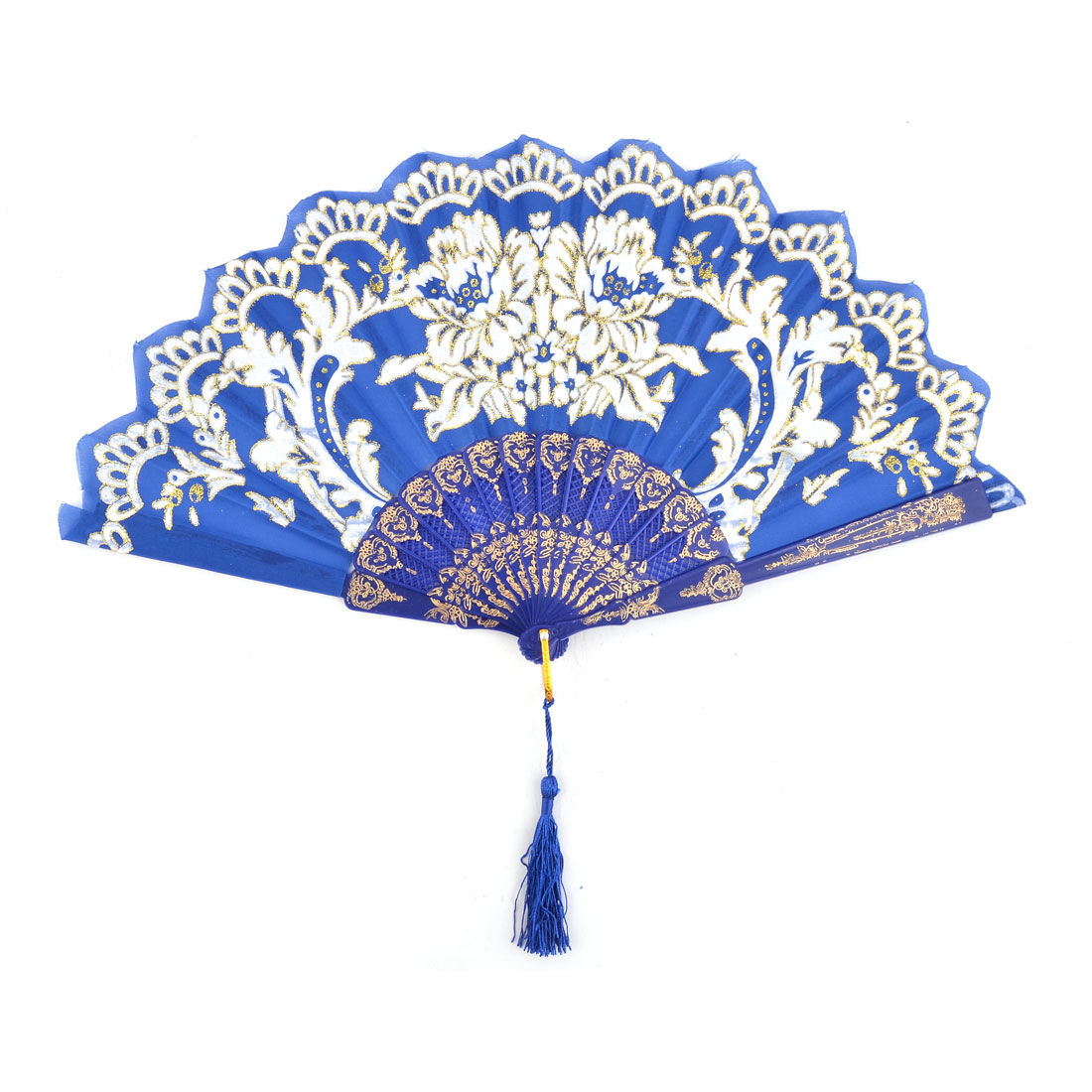 Women Flower Pattern Chinese Style Wedding Party Dancing Folding Hand Fan Royal Blue