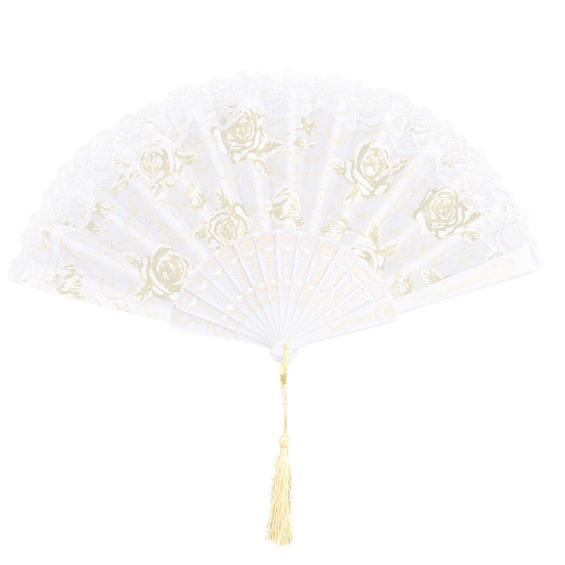 Household Party Plastic Frame Floral Pattern Folding Dancing Cooling Hand Fan White