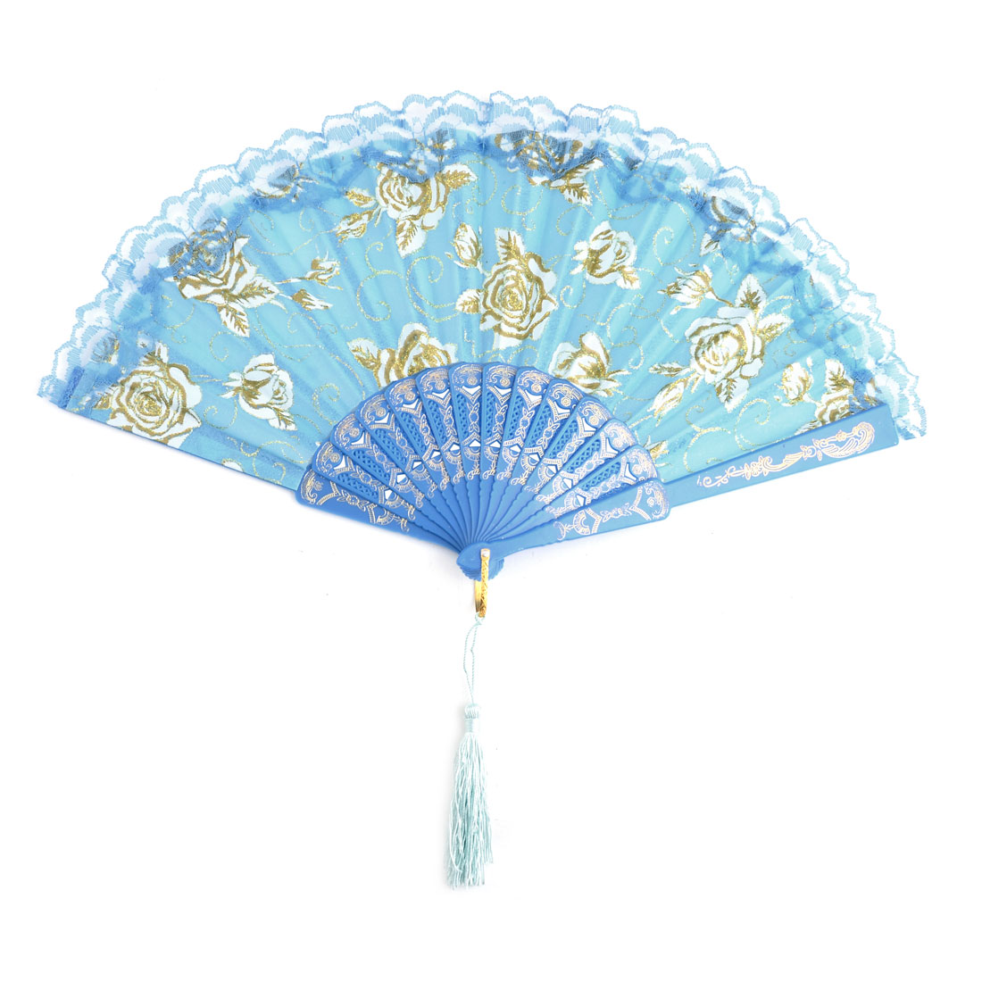 Household Party Plastic Frame Floral Pattern Folding Dancing Cooling Hand Fan Blue