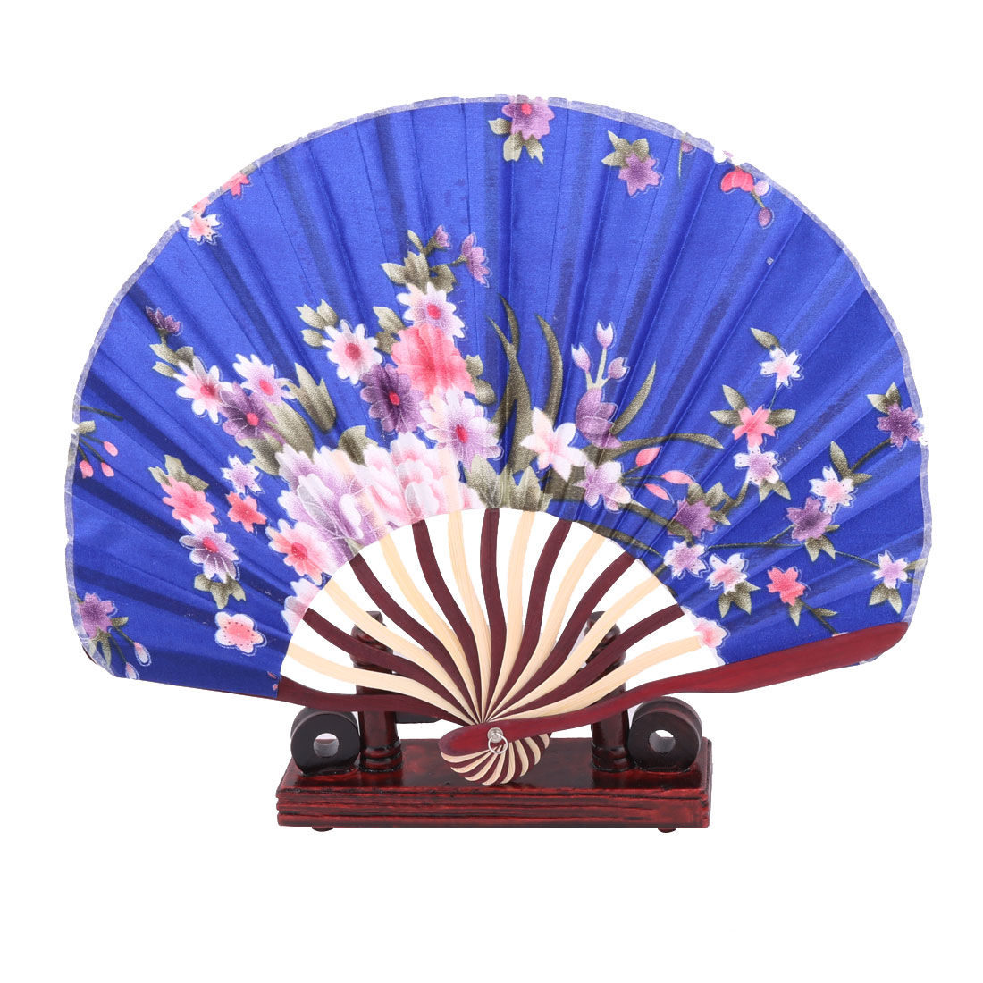 Home Wood Frame Flower Pattern Folding Hand Fan Display Holder Decor Multicolor 2 in 1