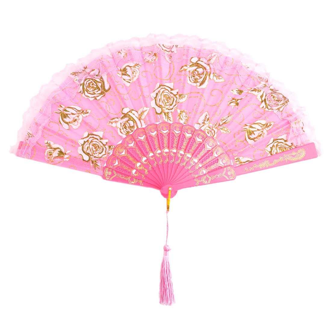 Household Party Plastic Frame Floral Pattern Folding Dancing Cooling Hand Fan Pink