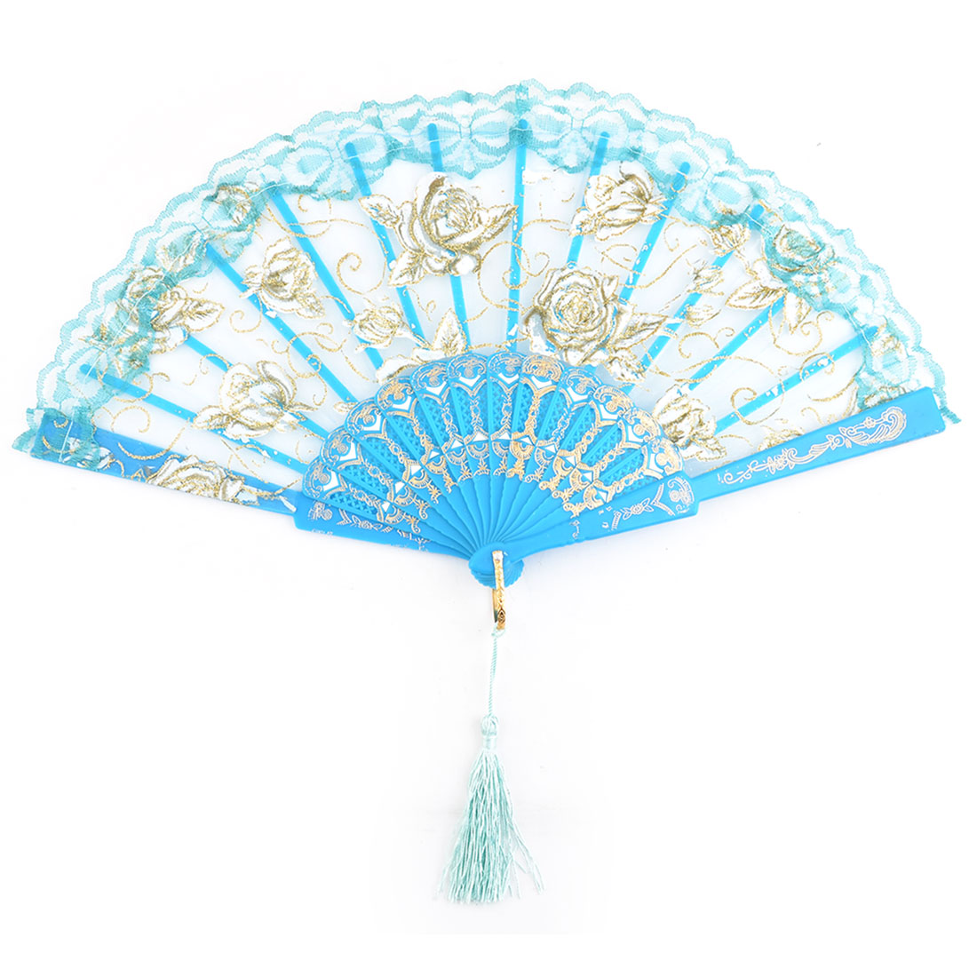 Women Dancer Plastic Frame Rose Pattern Folding Dancing Hand Fan Blue 23.8cm Length