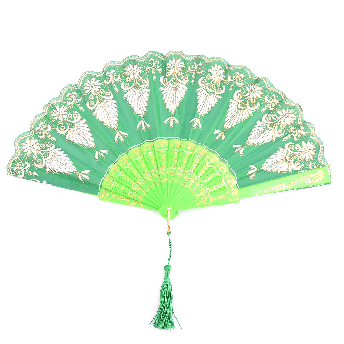 Home Plastic Peacock Tail Pattern Folding Dancing Cooling Hand Fan Green 24cm Length