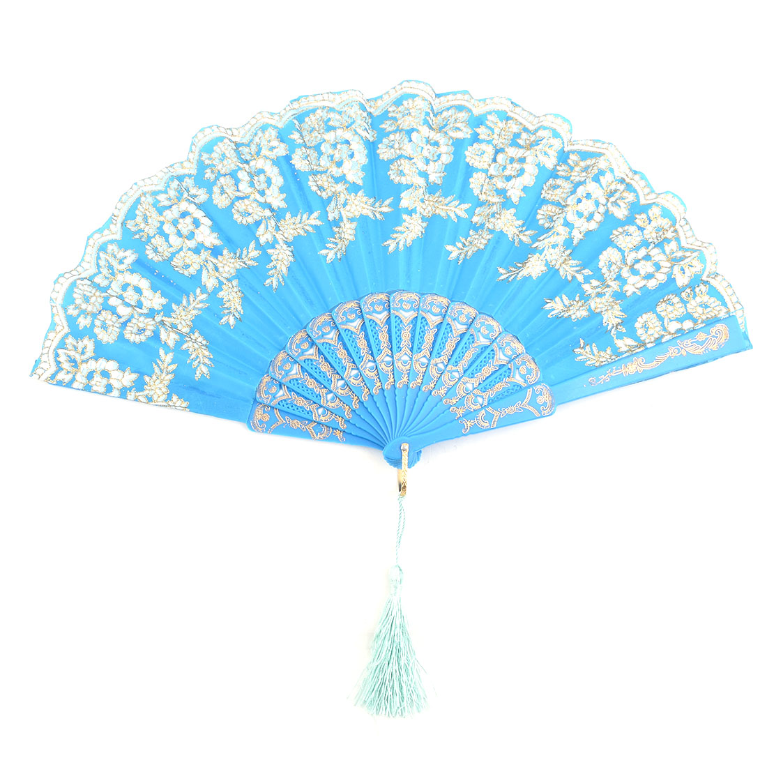 Home Plastic Frame Floral Pattern Folding Dancing Cooling Hand Fan Blue 23cm Length