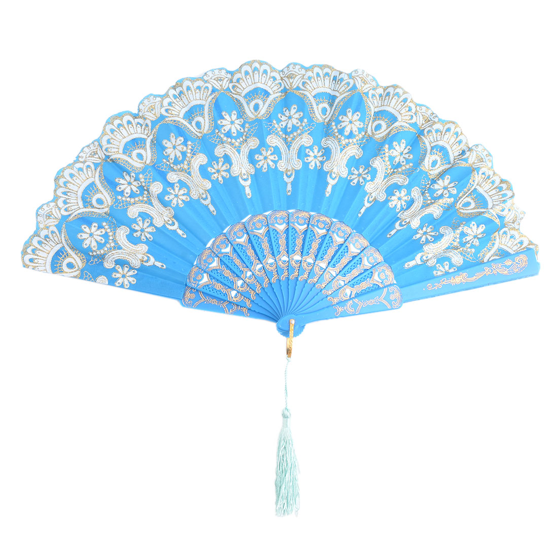 Lady Dancer Plastic Flower Pattern Tassel Decor Floding Hand Fan Blue 24cm Length