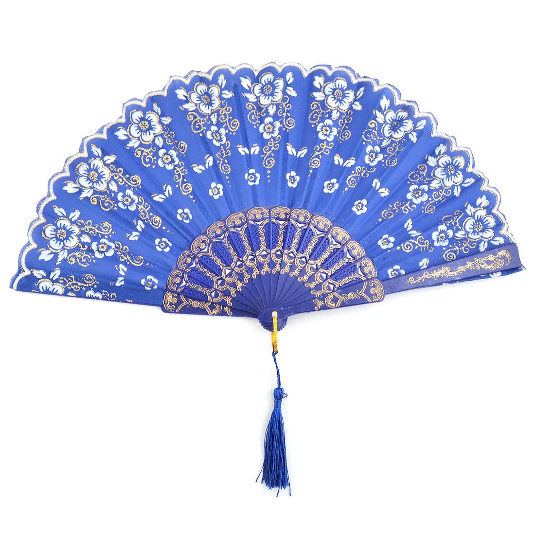 Women Dancing Plastic Frame Flower Pattern Tassel Decor Folding Fan Royal Blue