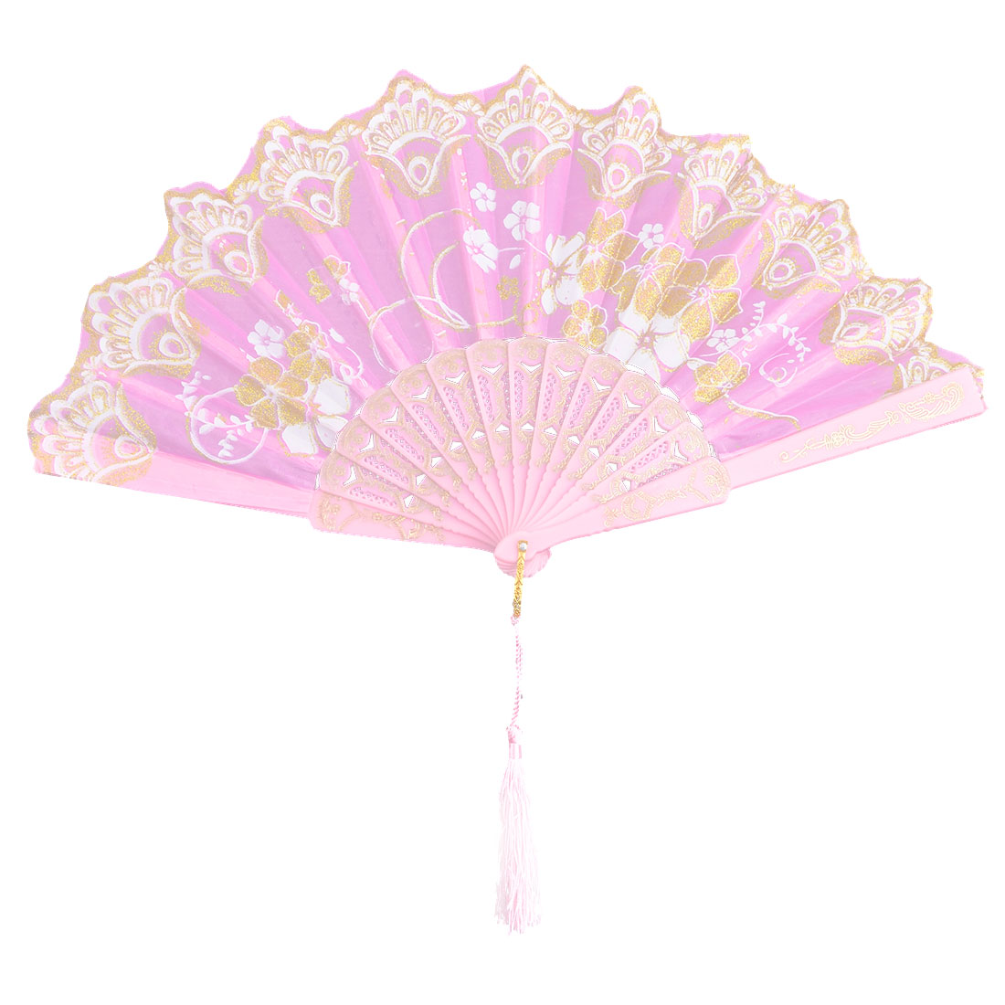 Household Wedding Plastic Cherryblossom Pattern Folding Cooling Dancing Hand Fan Pink