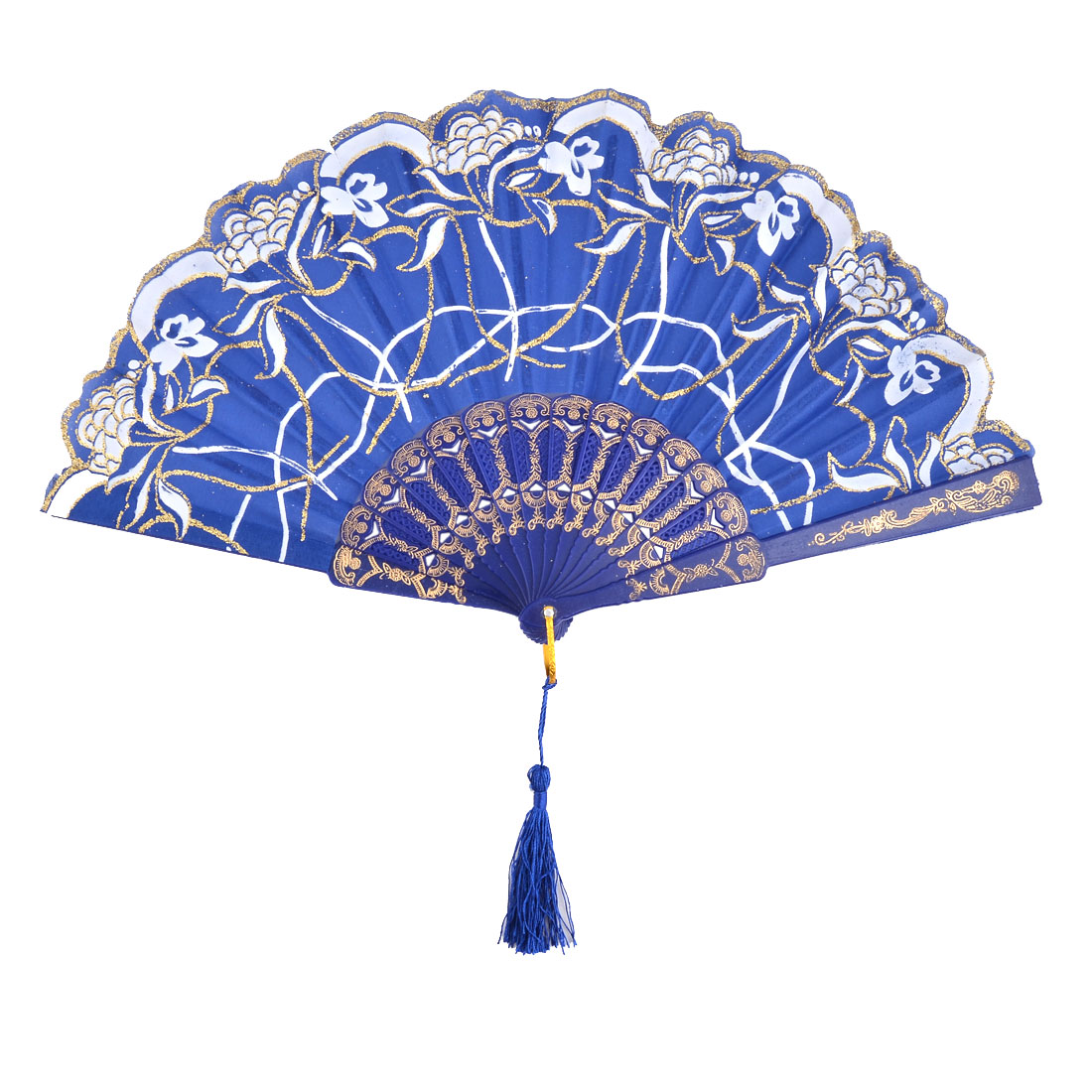 Lady Flower Print Chinese Style Tassel Pendant Party Dancing Folding Hand Fan Royal Blue