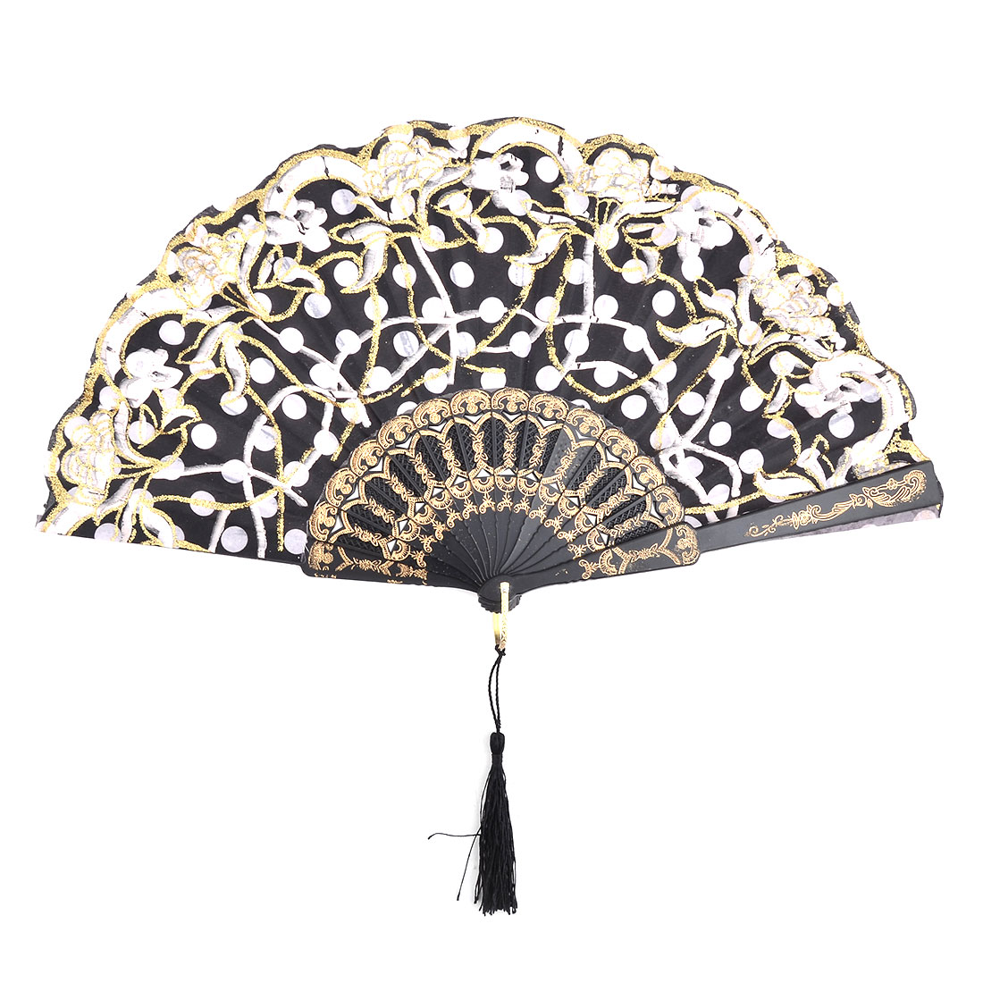 Flower Dots Pattern Chinese Style Handheld Summer Cooling Folding Dancing Fan Black
