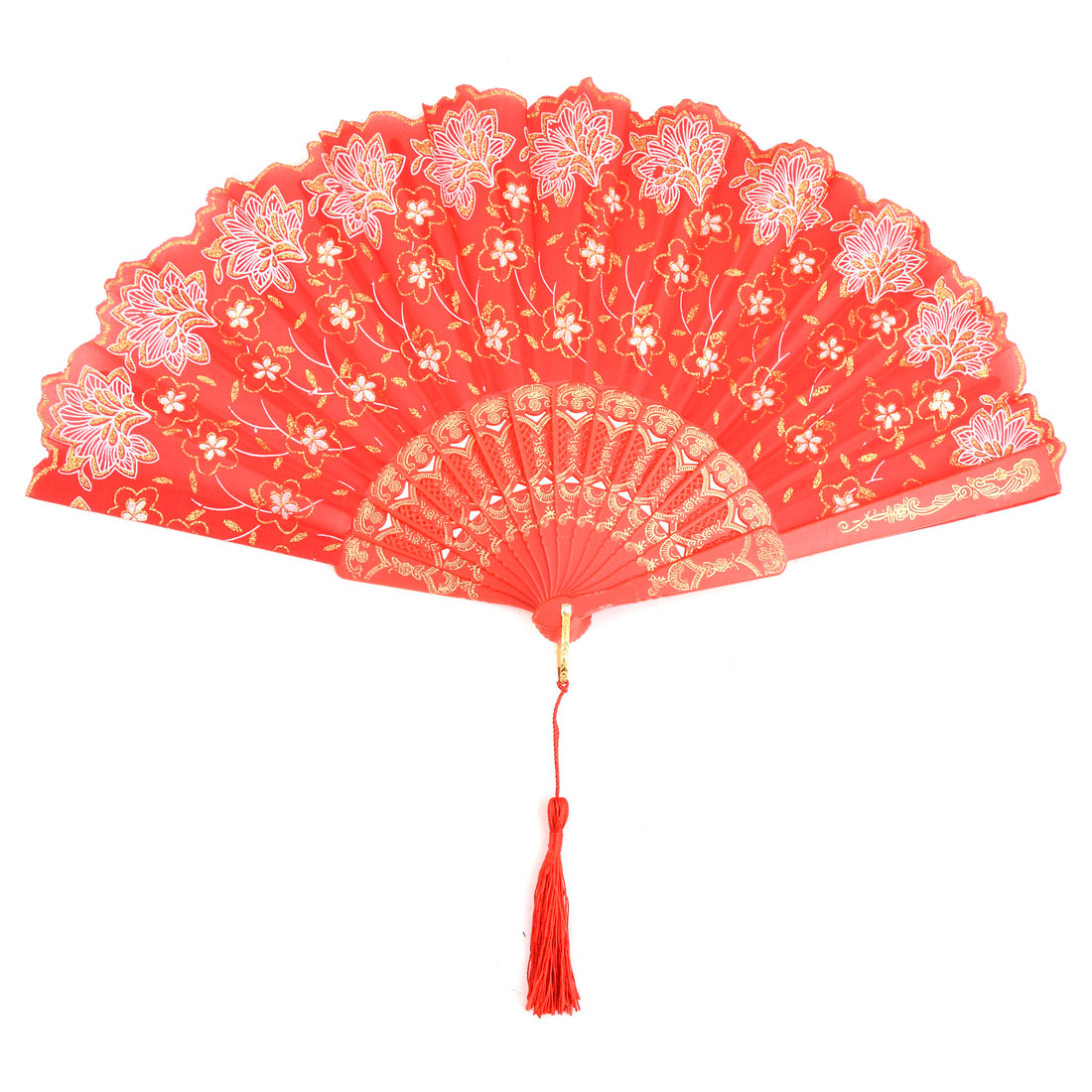 Gift Flower Pattern Tassel Decor Craft Handheld Summer Cooling Folding Fan Red