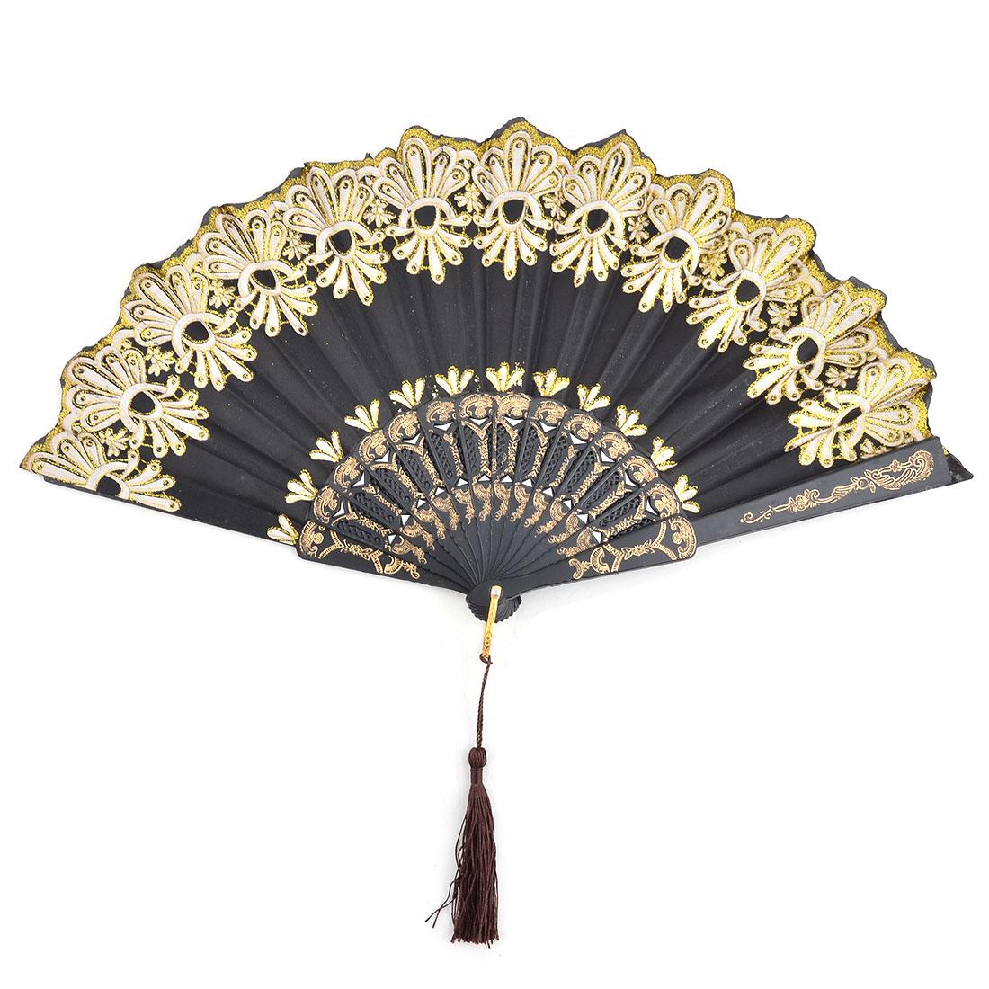 Lady Plastic Frame Floral Print Folding Dancing Cooling Hand Fan Black 23.5cm Length