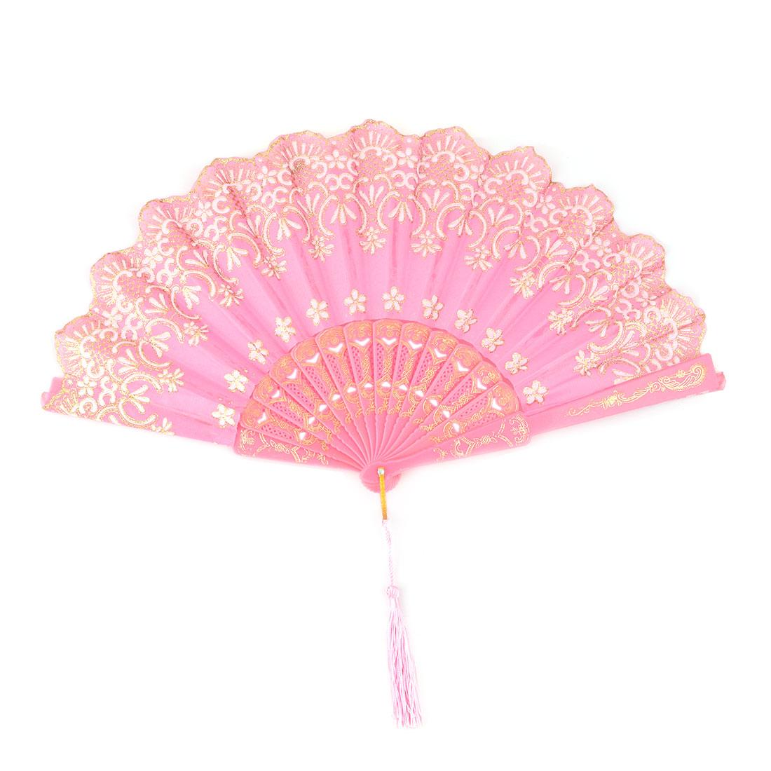 Women Dancing Polyester Flower Pattern Tassel Decor Handheld Cooling Folding Fan Pink