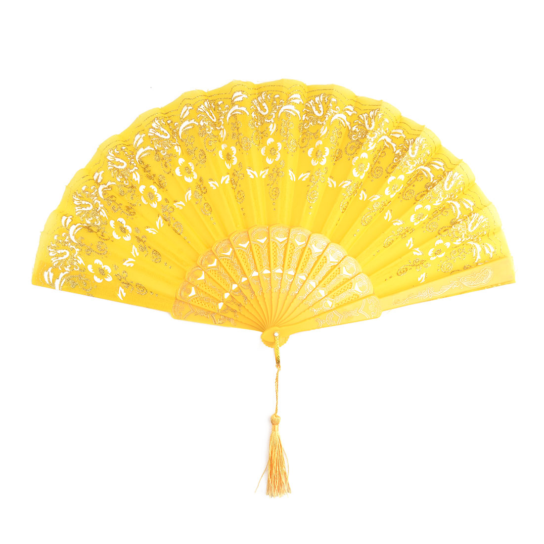 Women Flower Pattern Chinese Style Handheld Summer Cooling Folding Fan Yellow
