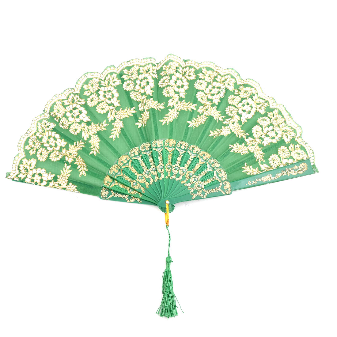 Home Plastic Frame Floral Pattern Folding Dancing Cooling Hand Fan Green 23cm Length