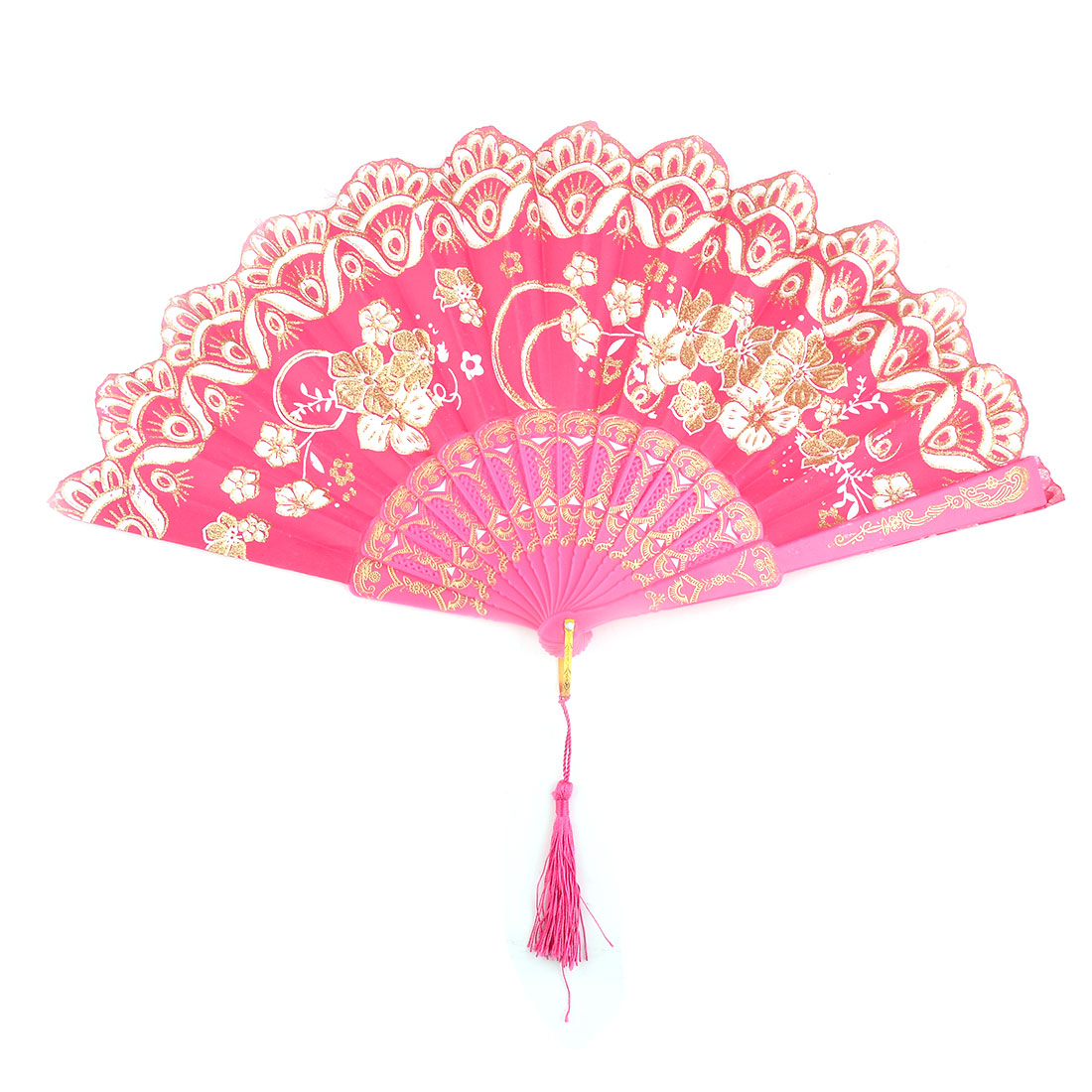 Household Wedding Plastic Cherryblossom Pattern Folding Cooling Dancing Hand Fan Fuchsia