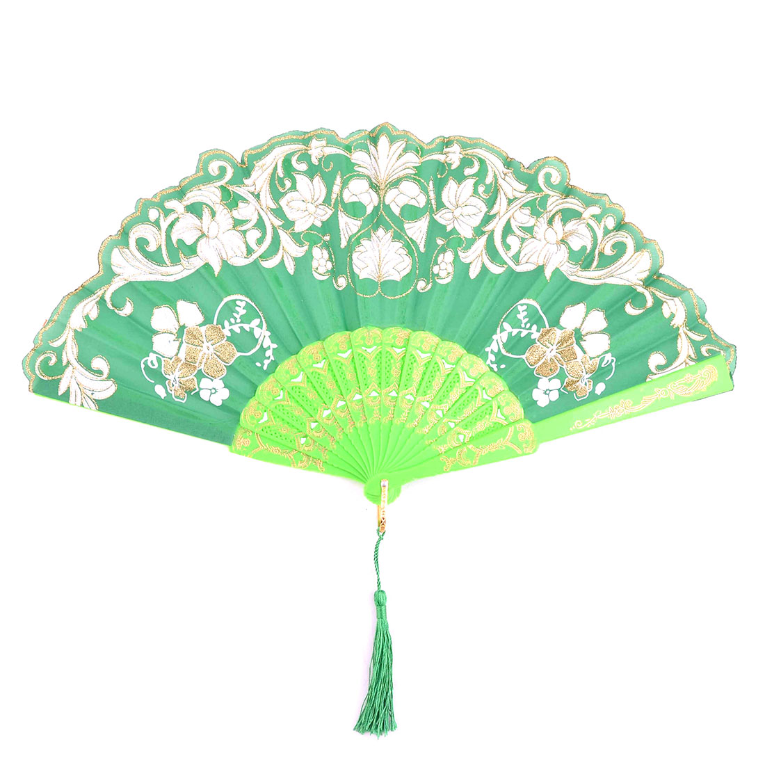 Birthday Gift Plastic Flower Pattern Folding Cooling Dancing Hand Fan Green 24.4cm Length