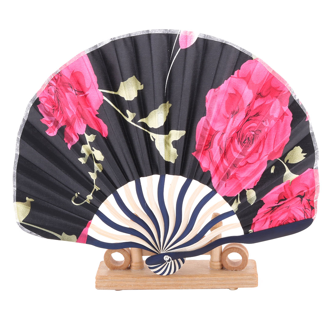 Dancing Flower Pattern Chinese Craft Folding Hand Fan Display Multicolor 2 in 1