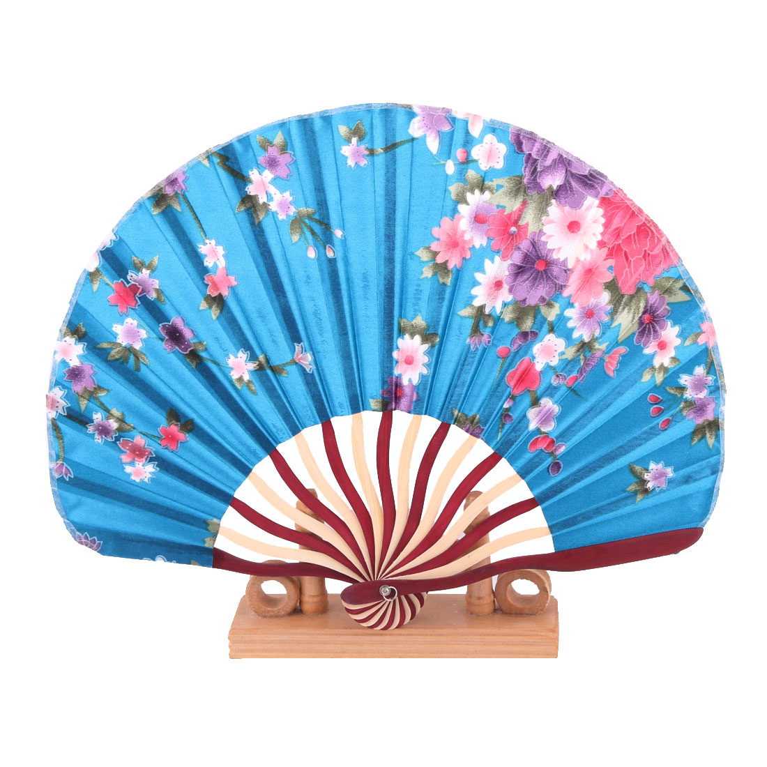 Home Flower Print Chinese Style Folding Hand Fan Display Holder Decor Multicolor 2 in 1