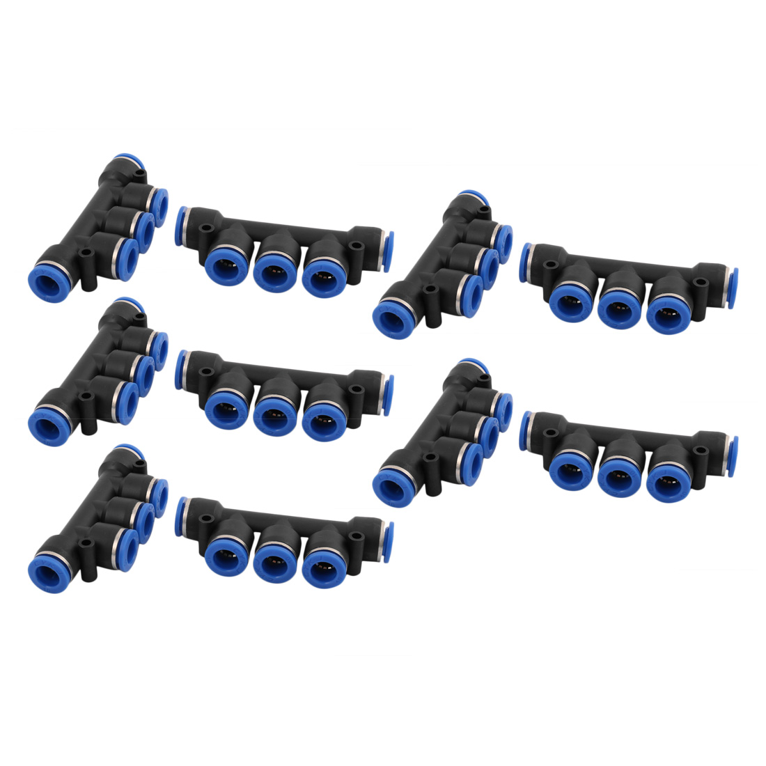 10Pcs 10mm Dia 5 Ways Tube Hose Pneumatic Air Quick Fitting Push In Connector