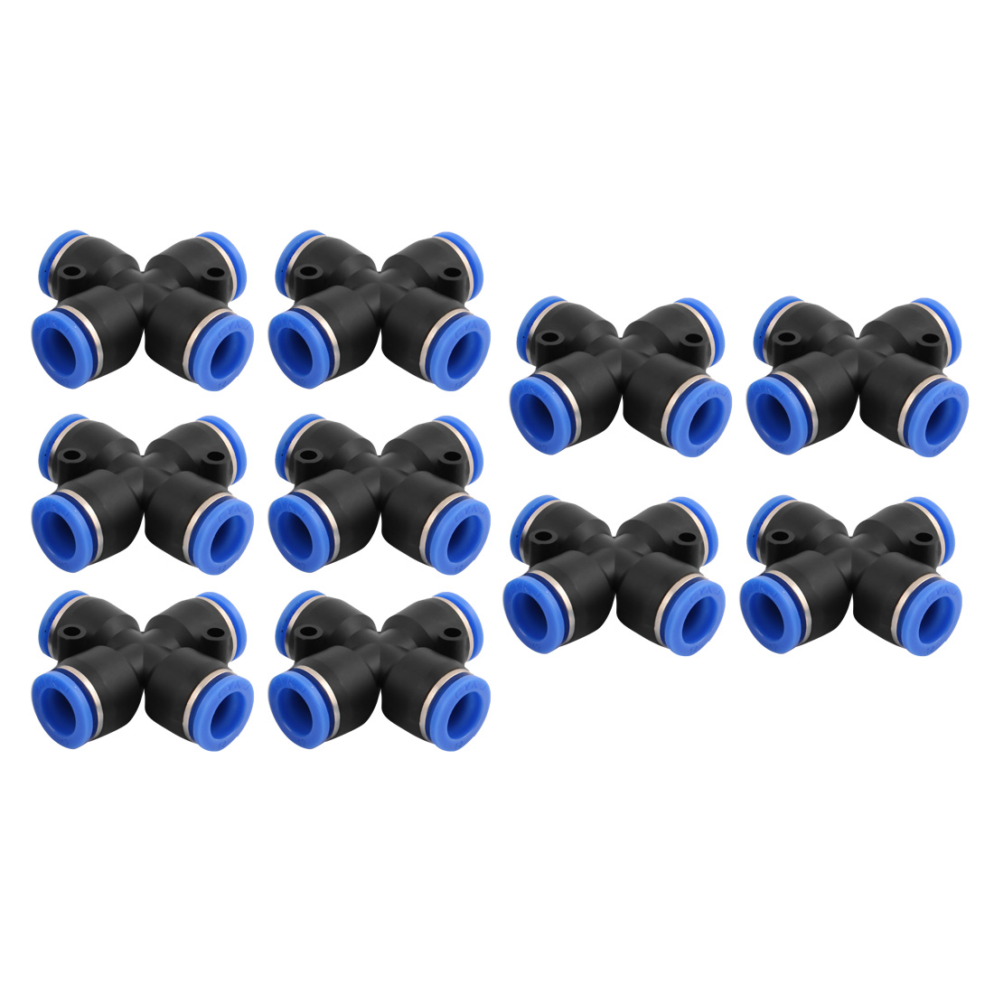 10Pcs 12mm Dia 4 Ways Tube Hose Pneumatic Air Quick Fitting Push In Connector Black
