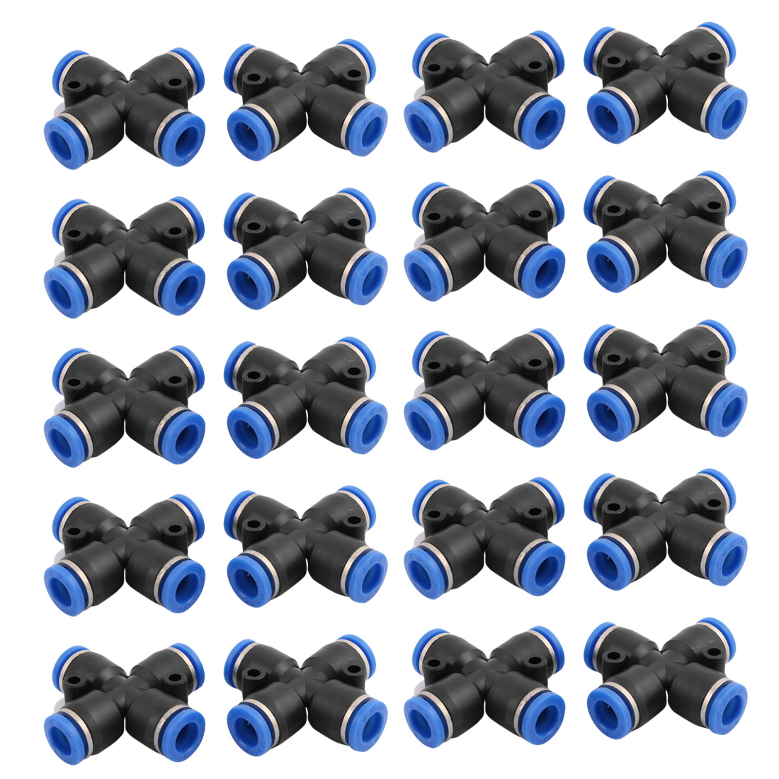 20Pcs 8mm Dia 4 Ways Tube Hose Pneumatic Air Quick Fitting Push In Connector Black