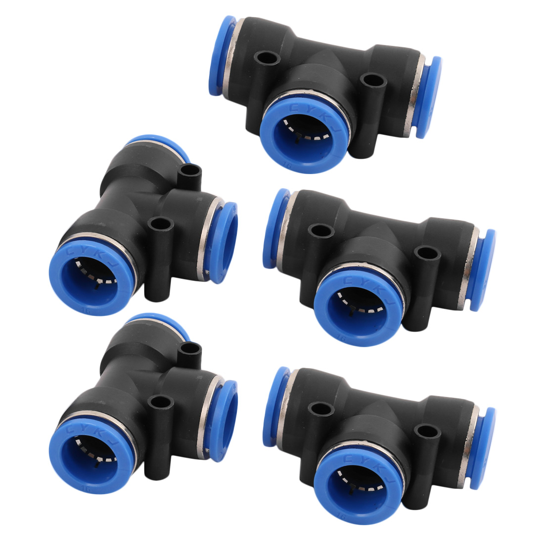 5Pcs 16mm Dia T Type 3 Ways Tube Hose Pneumatic Air Quick Fitting Push In Connector