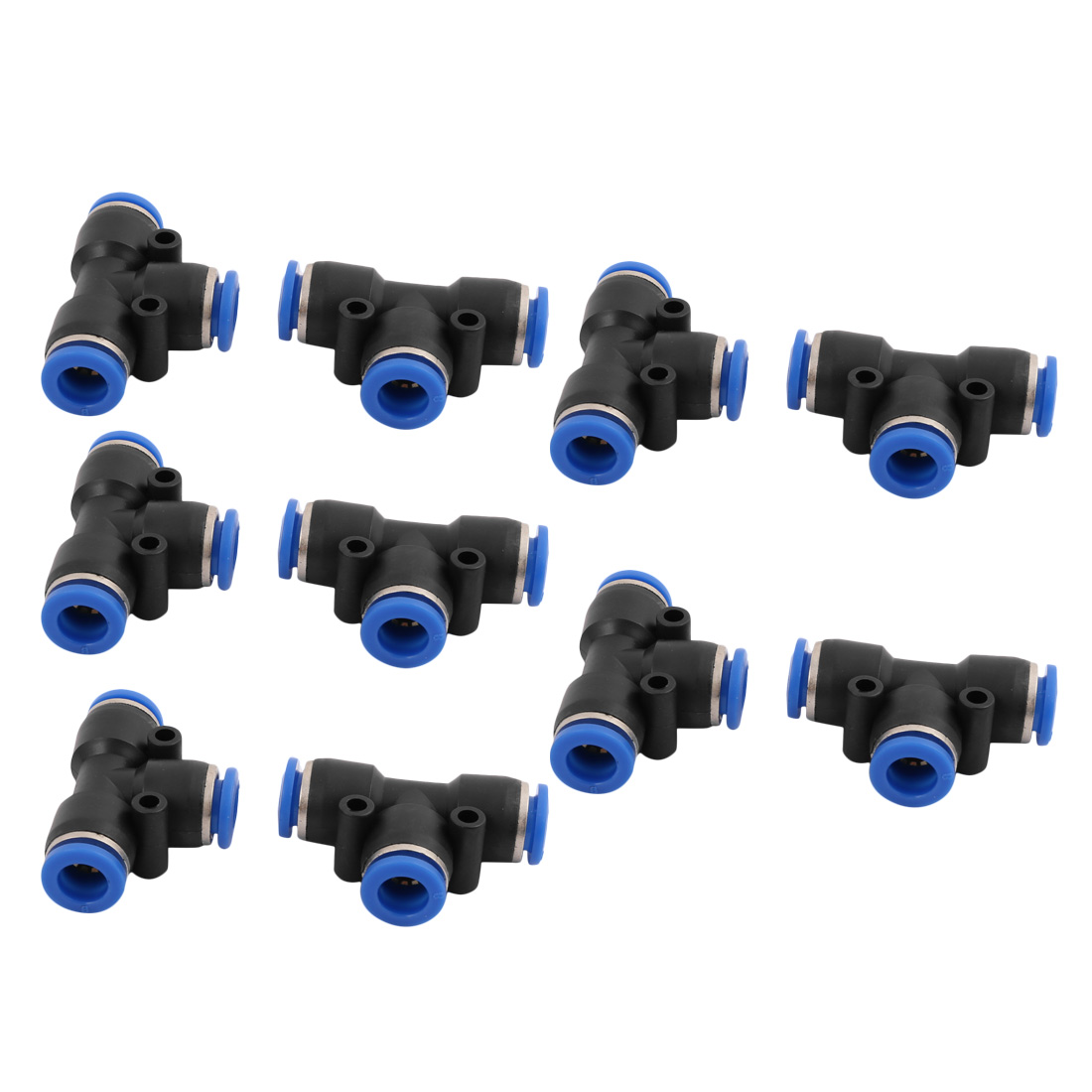 10Pcs 8mm Dia T 3 Ways Type Tube Hose Pneumatic Air Quick Fitting Push In Connector