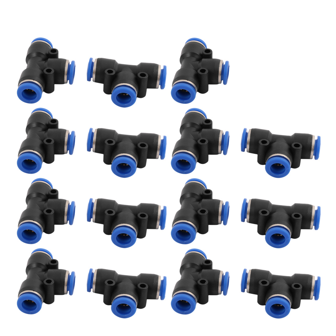 15Pcs 8mm Dia T 3 Ways Type Tube Hose Pneumatic Air Quick Fitting Push In Connector