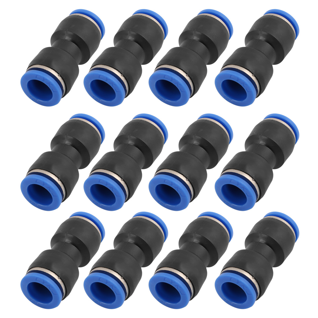 10Pcs 12mm Dia 2 Way Straight Tube Hose Pneumatic Air Quick Fitting Push In Connector