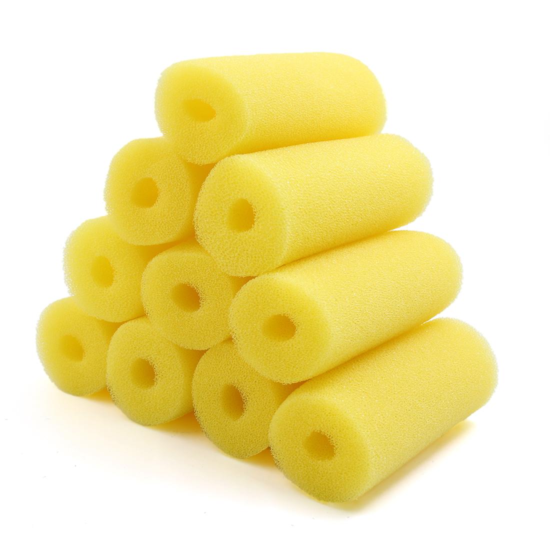10pcs 2.6inch Dia Cylinder Aquarium Pre-Filter Yellow Sponge Filter Cartridges