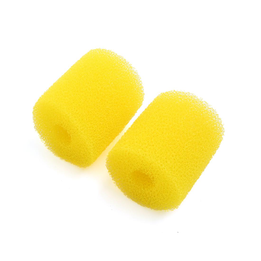 2pcs Yellow 2.6 Inch Dia Cylinder Pre-Filter Sponge Filter Media for Aquarium