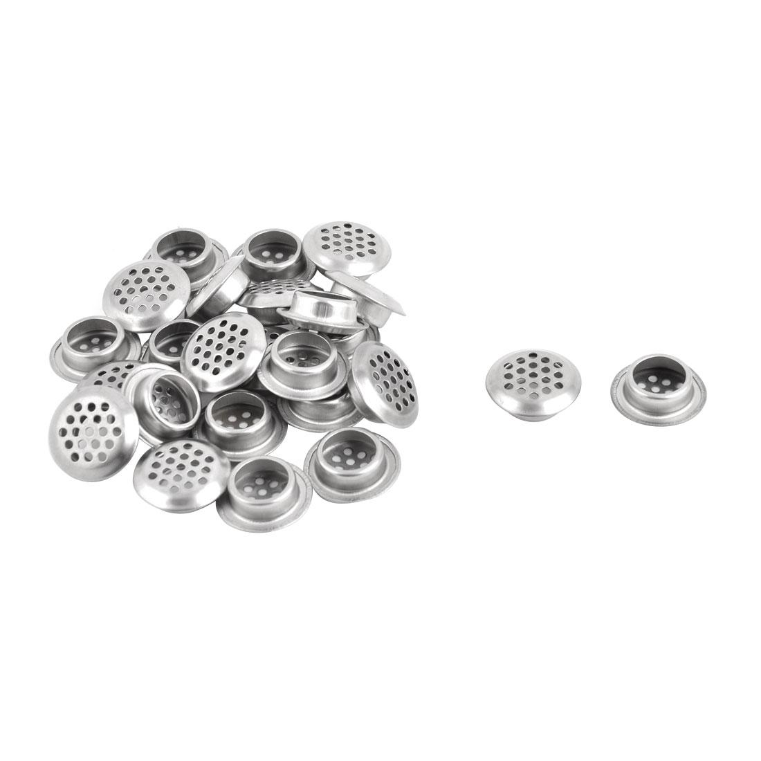 Kitchen Bathroom Stainless Steel Round Mesh Hole Sink Strainer Silver Tone 25pcs