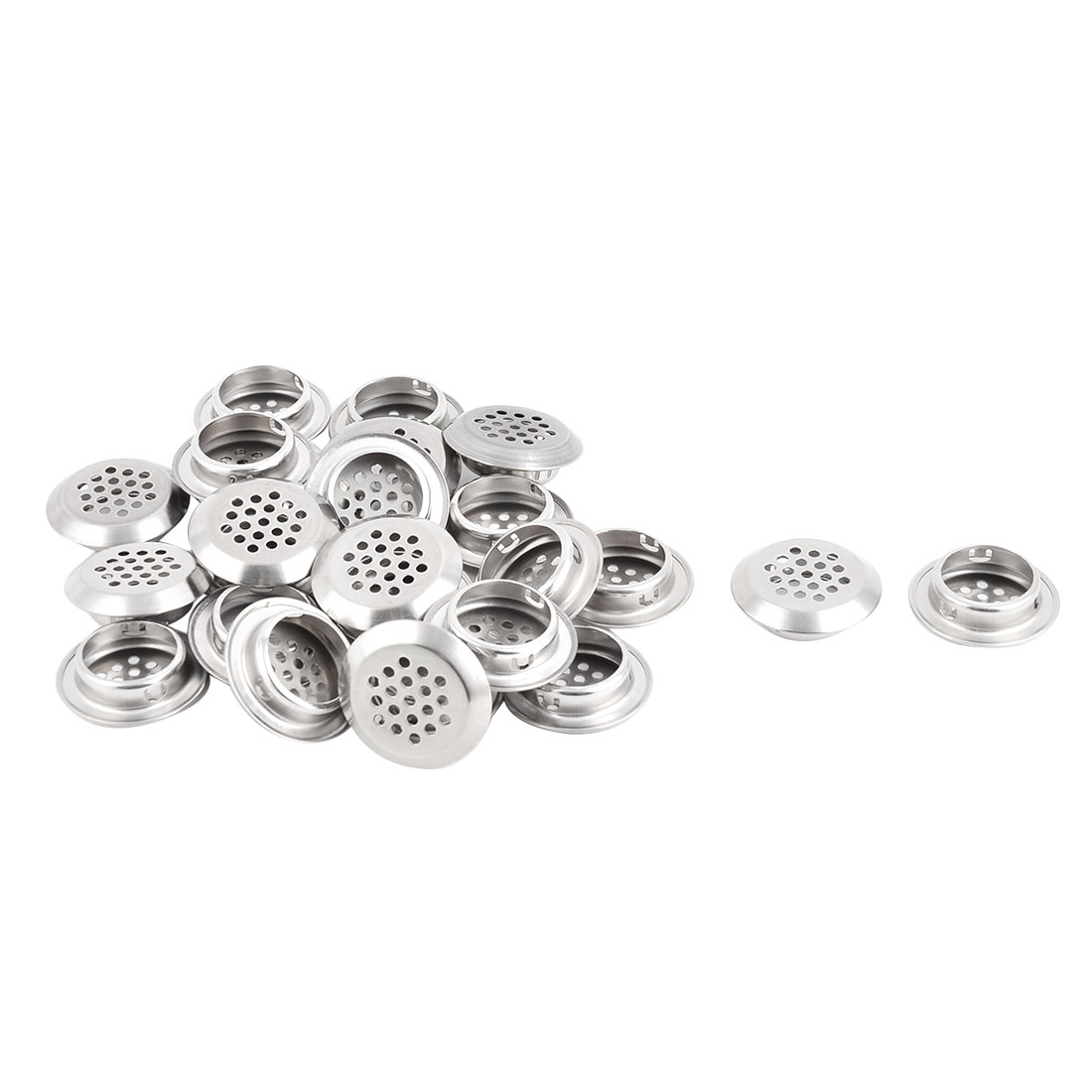 Home Bathroom Stainless Steel Round Mesh Hole Sink Strainer Filter Silver Tone 25pcs