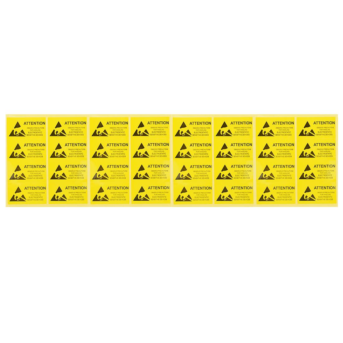 "2cmx3.6cm 0.8""x1.4"" Yellow Black DO NOT TOUCH Pattern Anti-Static Sticker"
