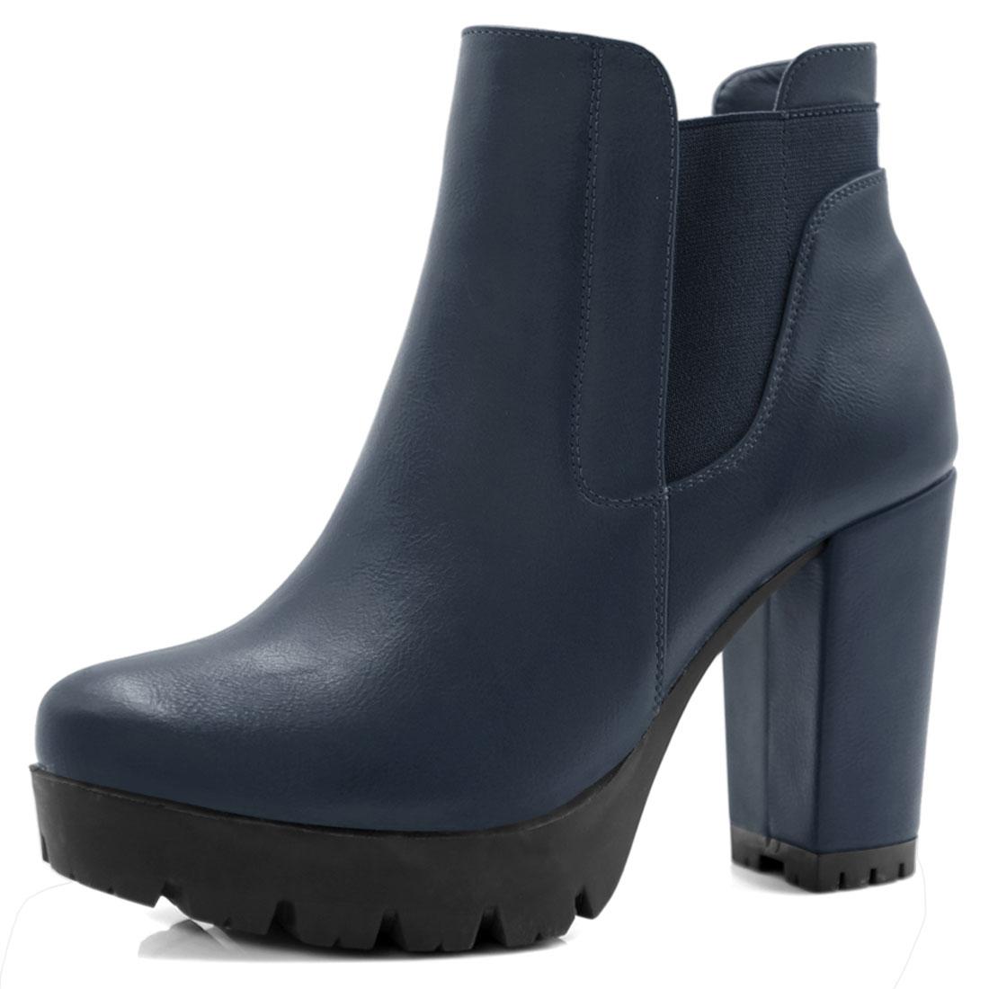 Allegra K Women Chunky High Heel Platform Zipper Chelsea Boots Navy Blue US 6