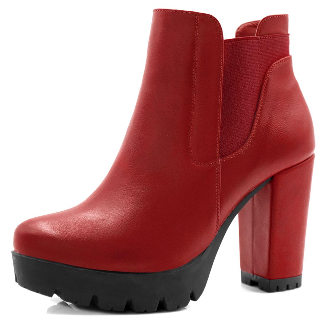 Allegra K Women Chunky High Heel Platform Zipper Chelsea Boots Red US 7.5