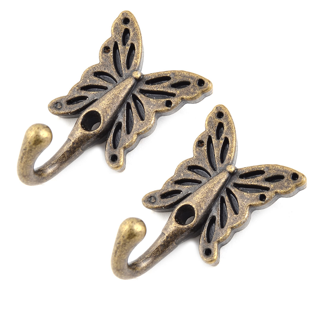 Home Metal Butterfly Vintage Style Wall Mounted Hanger Hook Bronze Tone 2 Pcs