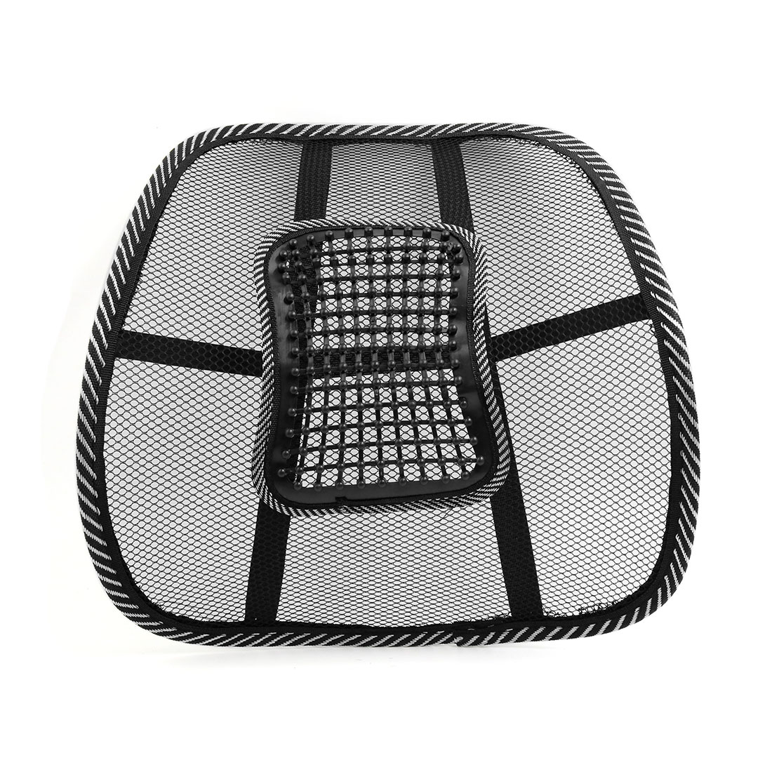 Black White Waist Lumbar Massage Mesh Cushion Back Support Pad for Car Office