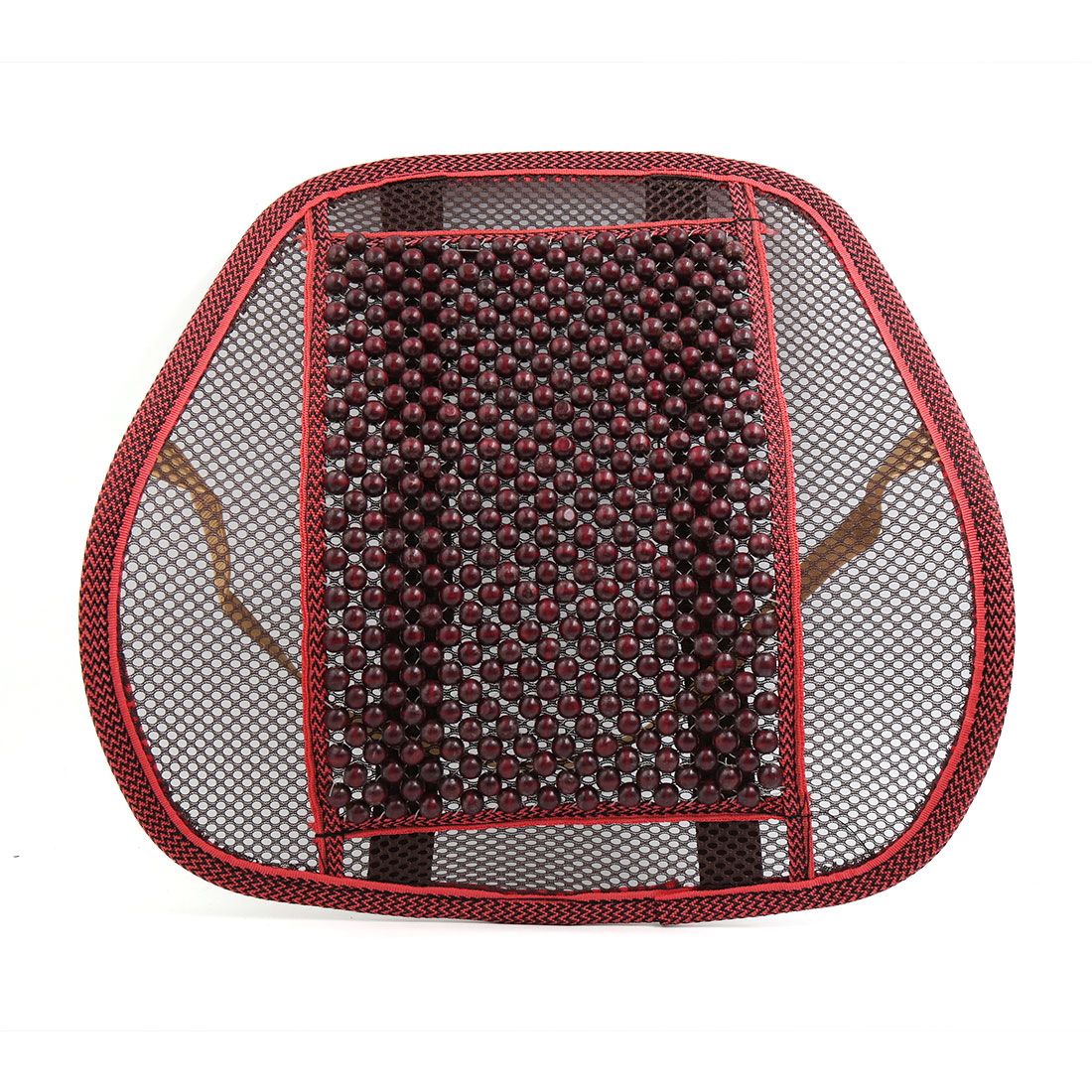 Red Bead Design Waist Lumbar Massage Mesh Cushion Back Support for Car Office