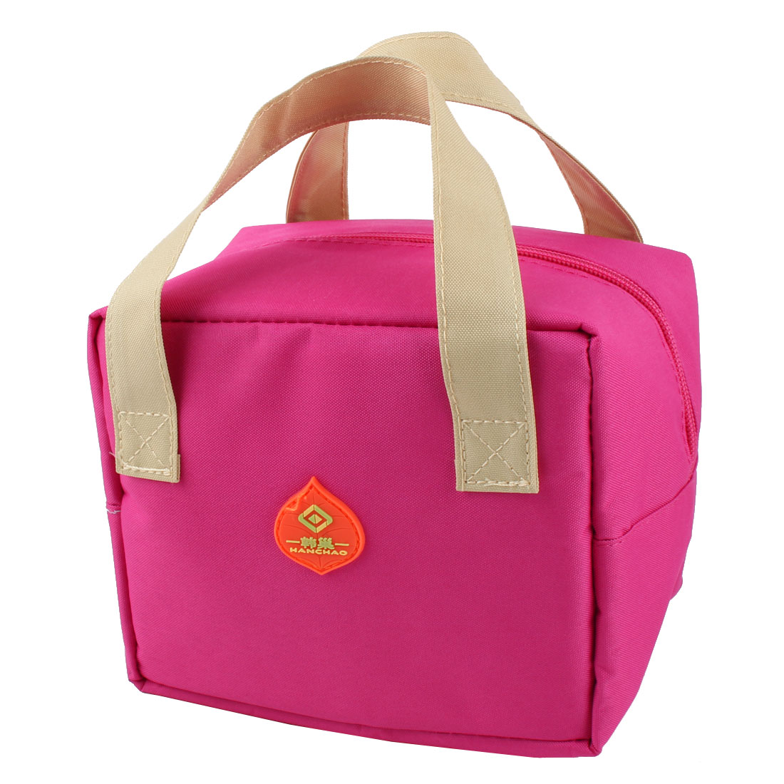 Outdoor Portable Rectangle Thermal Cooler Insulated Lunch Bag Tote Picnic Container Pouch Fuchsia