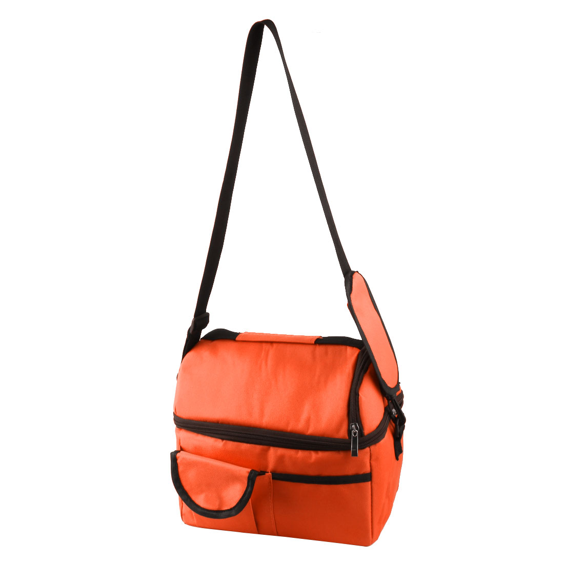 Outdoor Nylon Portable Double Layer Insulated Cooler Lunch Ice Bag Picnic Storage Carry Tote Orange
