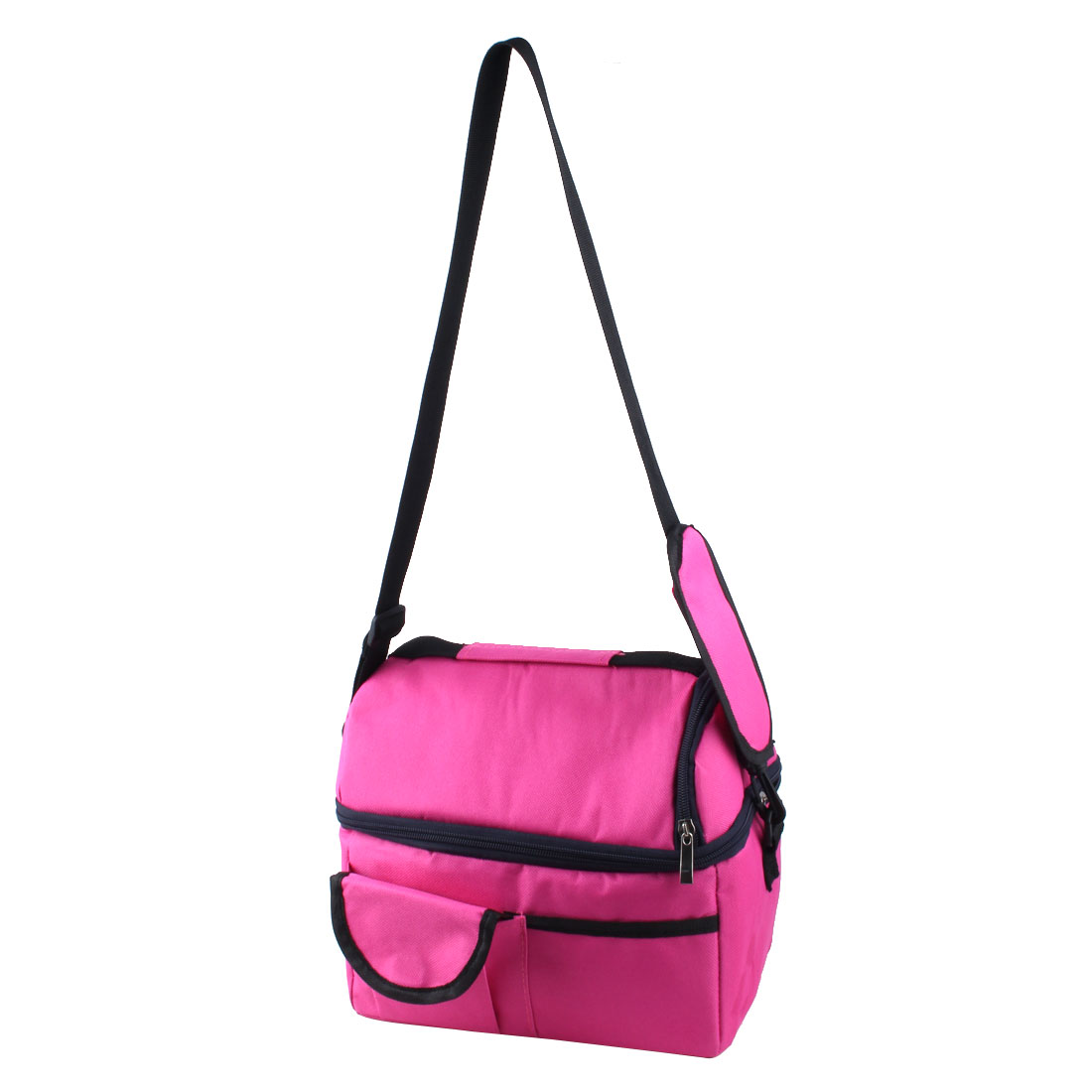 Travel Portable Double Layer Insulated Cooler Lunch Ice Bag Picnic Storage Carry Tote Fuchsia