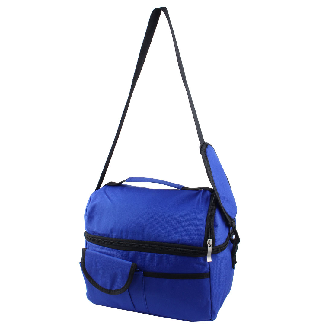 Outdoor Picnic Nylon Portable Double Layer Insulated Lunch Cooler Bag Storage Box Dark Blue