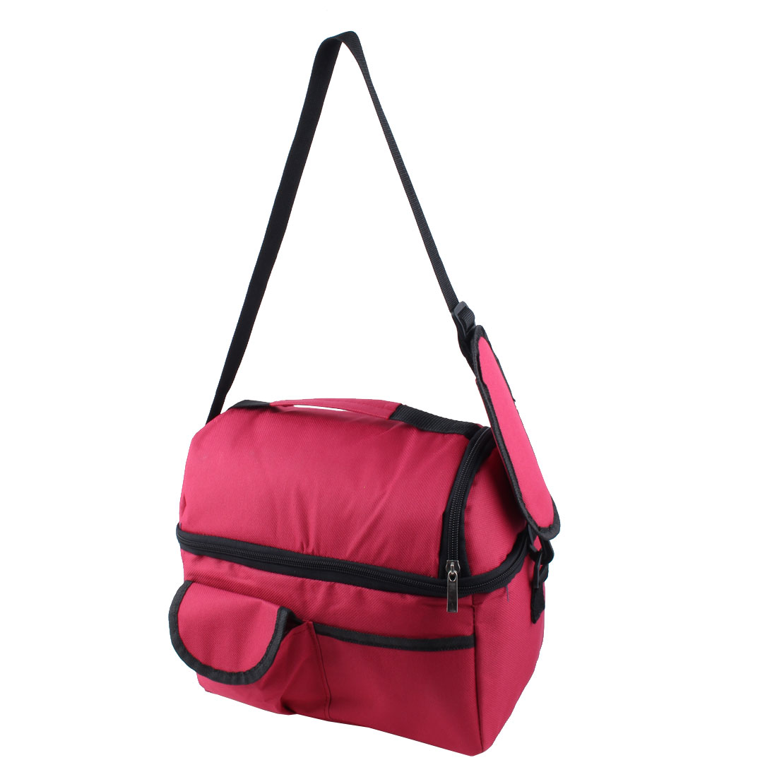 Outdoor Portable Double Layer Insulated Lunch Cooler Bag Picnic Container Tote Burgundy