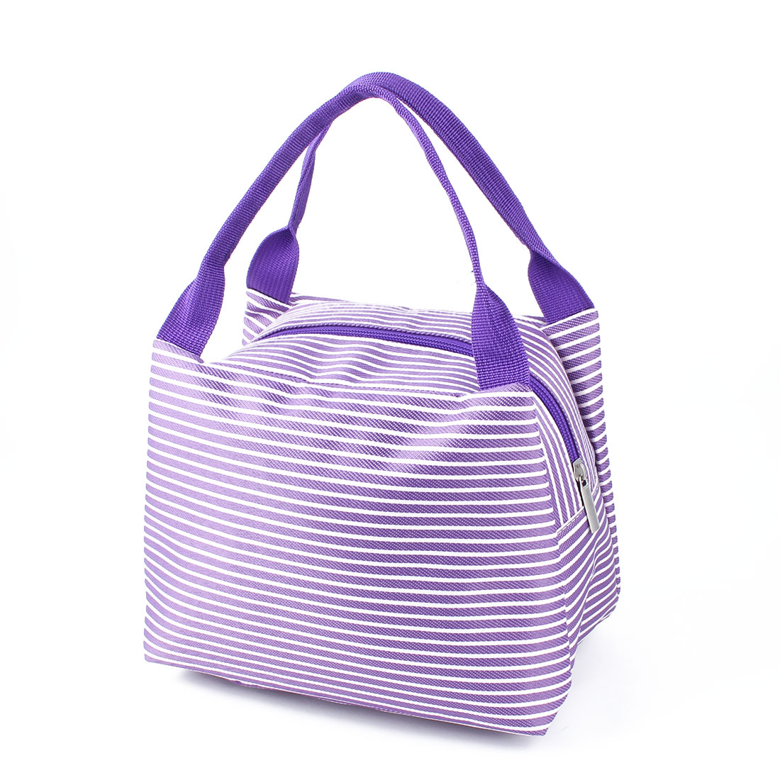 Outdoor Stripes Zipper Insulated Thermal Cooler Lunch Bag Picnic Carry Tote Container Purple
