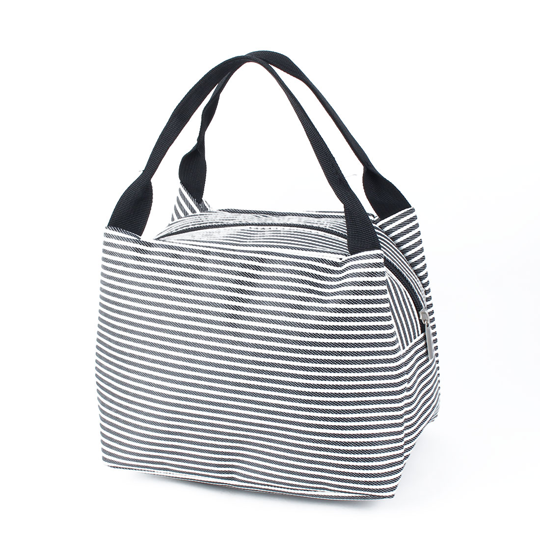 Outdoor Portable Stripes Insulated Thermal Cooler Lunch Bag Picnic Carry Tote Container Black
