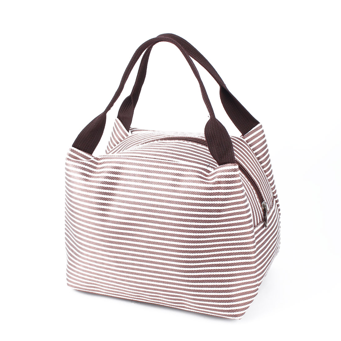 Travel Portable Stripes Insulated Thermal Cooler Lunch Bag Picnic Carry Tote Holder Khaki