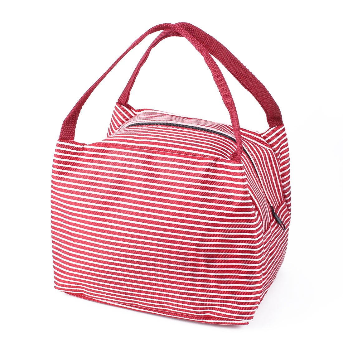 Outdoor Portable Striped Insulated Thermal Cooler Lunch Tote Bag Picnic Container Red