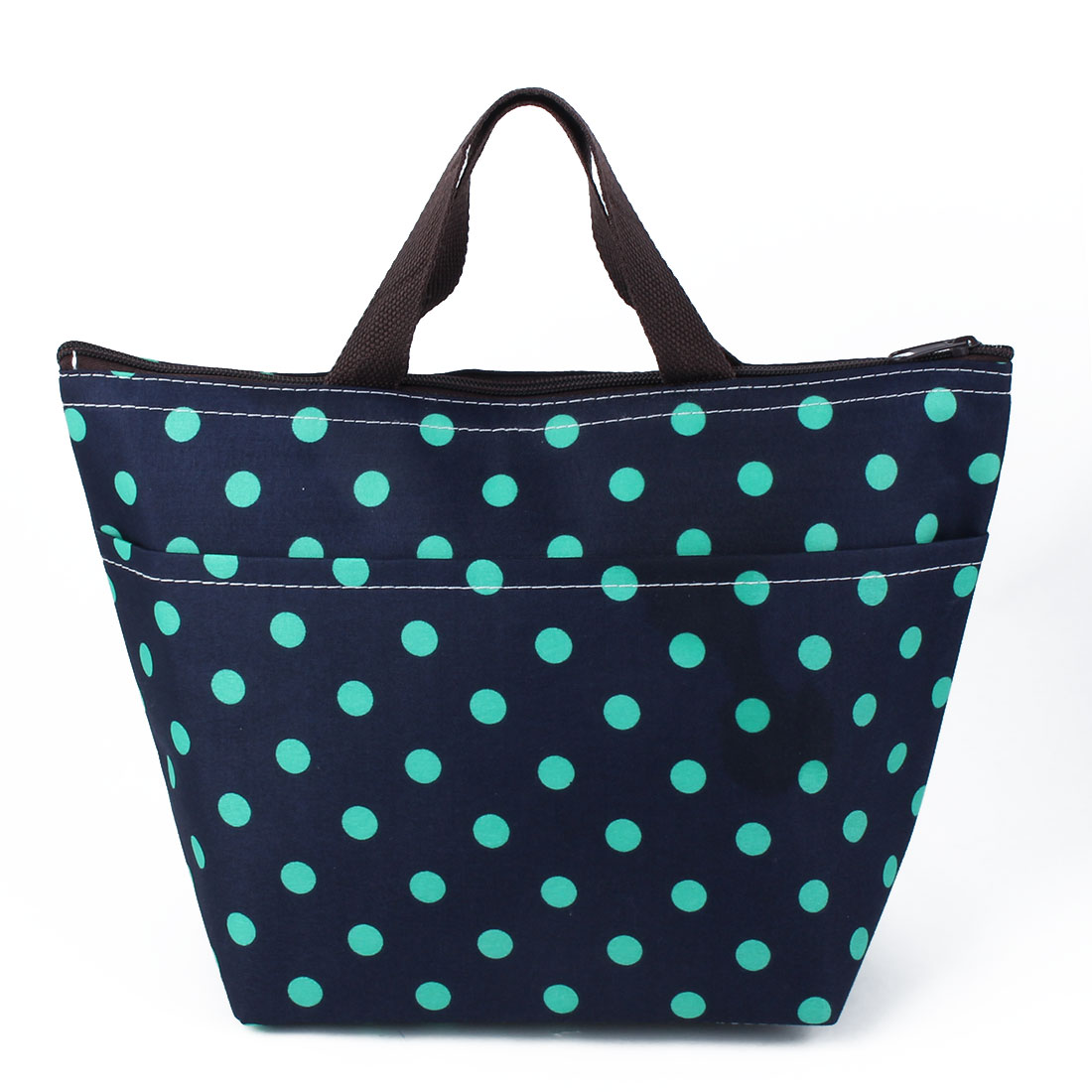 Travel Portable Zipper Closure Dot Pattern Insulated Cooler Lunch Carry Tote Bag Picnic Box