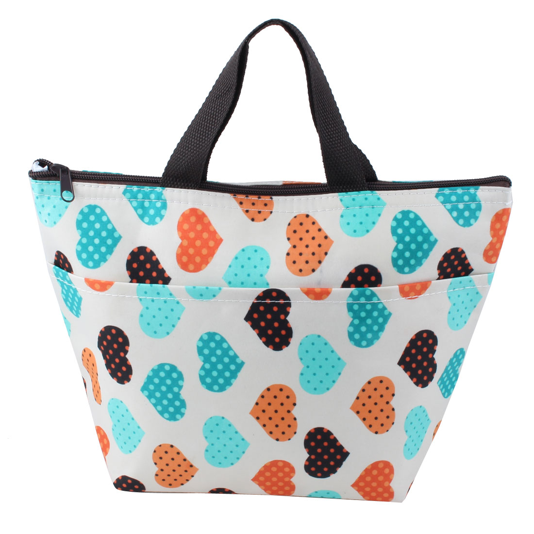 Outdoor Portable Zipper Closure Heart Pattern Insulated Cooler Lunch Carry Tote Bag Picnic Box